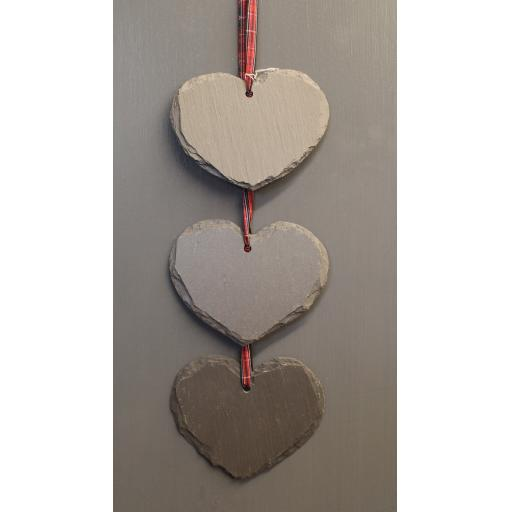 Welsh Slate Three Hanging Hearts