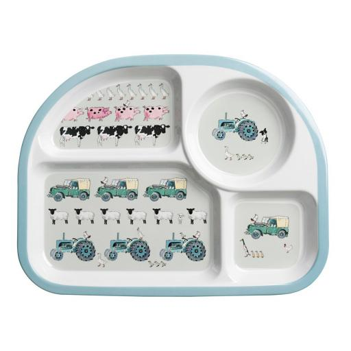 Children's Melamine Divider Plate - On The Farm