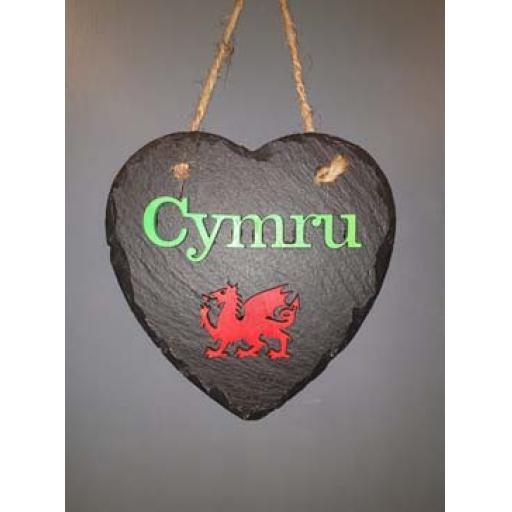 Bespoke Slate 'Cymru' Heart