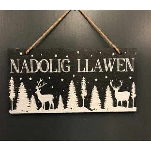 Slate 'Nadolig Llawen' Sign