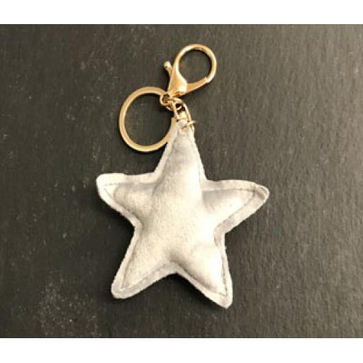 Keyring - Grey Velvet Star