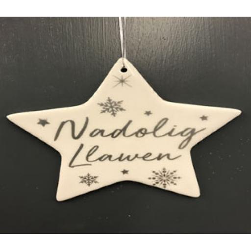 Ceramic Star 'Nadolig Llawen'